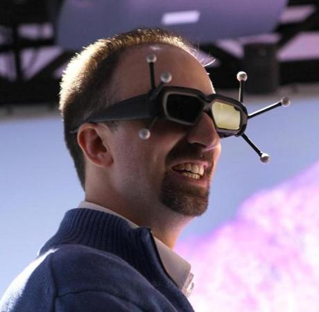 Pfizer chemist Kevin Hallock sported antenna-spiked 3-D glasses.